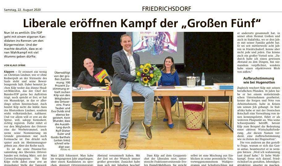 Jochen Kilp als Bürgermeisterkandidat der FDP bestätigt