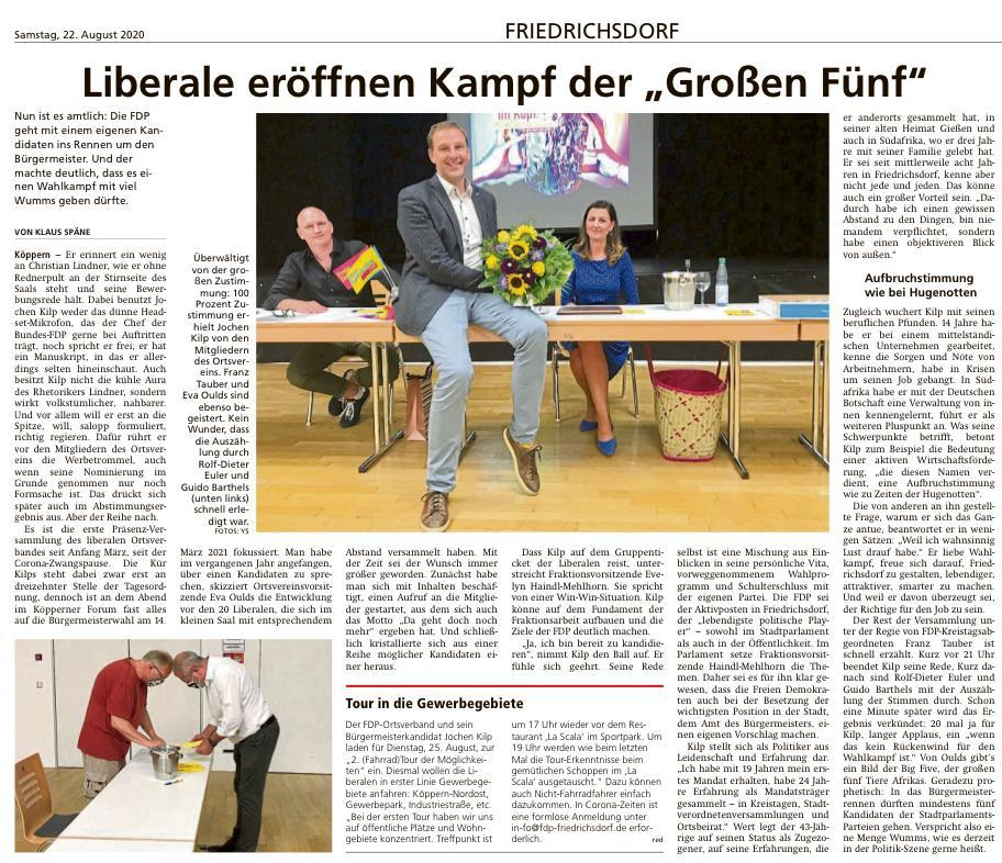 Zeitungsartikel in der Taunus Zeitung