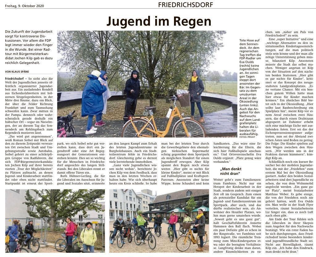Foto Presseartikel FDP Friedrichsdorf Jugend im Regen