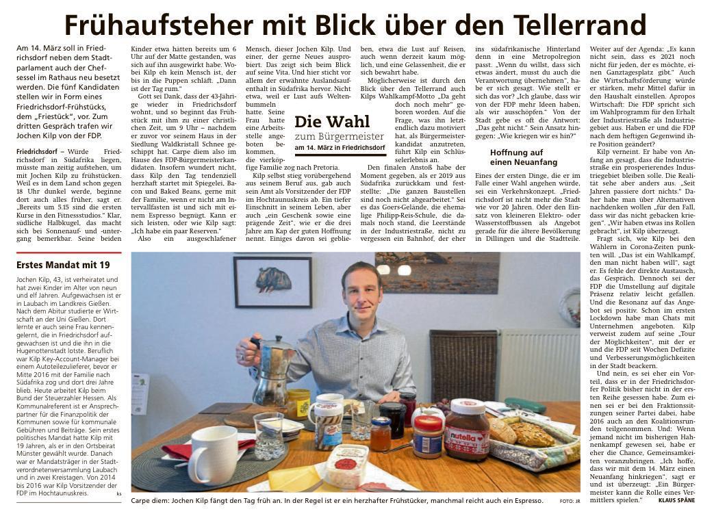 """Taunus Zeitung Artikel: """"Frühaufsteher mit Blick über den Tellerrand"""""""